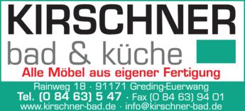 Anzeige Schreinerei Kirschner