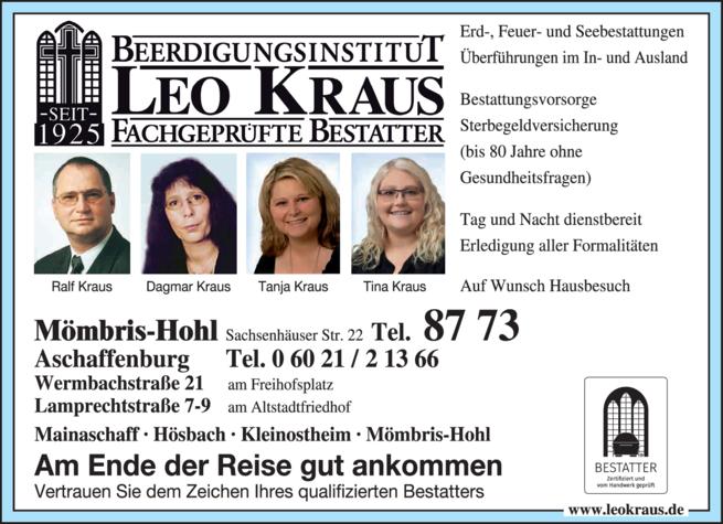 Anzeige Kraus Dagmar u. Ralf Beerdigungsinstitut Leo Kraus GmbH