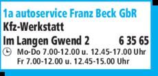 Anzeige 1a autoservice Franz Beck GbR
