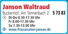 Anzeige Janson Waltraud Friseursalon