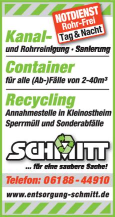 Anzeige Rohr-Frei, Kanal Schmitt GmbH