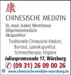 Anzeige Chinesische Medizin Würzburg / TCM / Akupunktur / Dr.med. Isabel Wemhöner