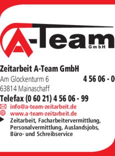 Anzeige Zeitarbeit A-Team GmbH