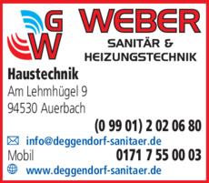 Anzeige Weber Sanitär- & Haustechnik