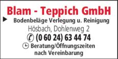 Anzeige Teppich Blam Bodenbeläge