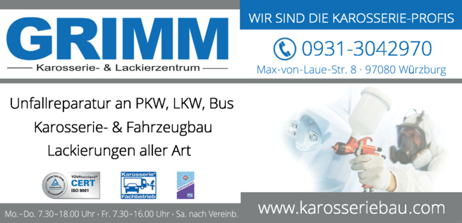 Anzeige Autolackiererei Grimm Horst GmbH