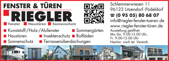 Anzeige Holz- Alufenster Riegler Jörn