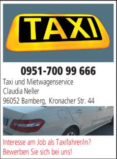 Anzeige Taxi und Mietwagenservice Neller Claudia