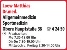 Anzeige Loew Matthias Dr.med.