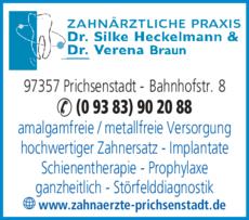 Anzeige Heckelmann Silke Dr. & Braun Verena Dr., Praxisgemeinschaft