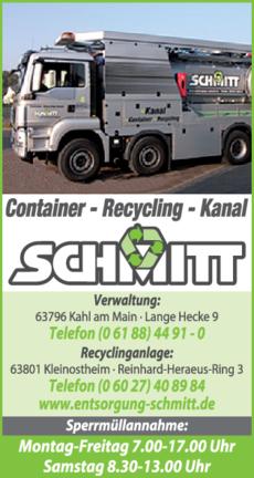 Anzeige Kanalreinigung Kanal Schmitt