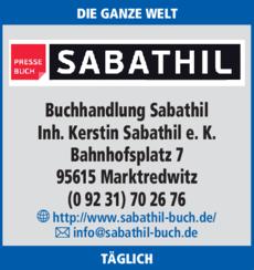 Anzeige Buchhandlung Sabathil Inh. Kerstin Sabathil e. K.