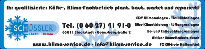 Anzeige Kälte- u. Klimaanlagen Schüssler