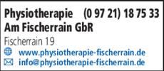 Anzeige Physiotherapie Am Fischerrain GbR