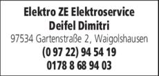 Anzeige Elektro ZE Elektroservice