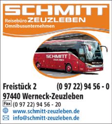 Anzeige Reisebüro- Omnibusunternehmen Schmitt Zeuzleben GmbH
