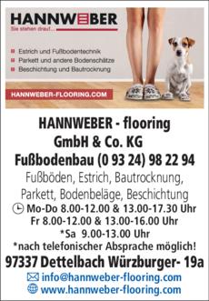 Anzeige HANNWEBER flooring GmbH & Co. KG