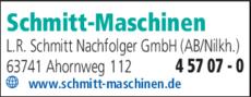 Anzeige Schmitt-Maschinen L.R. Schmitt Nachfolger GmbH