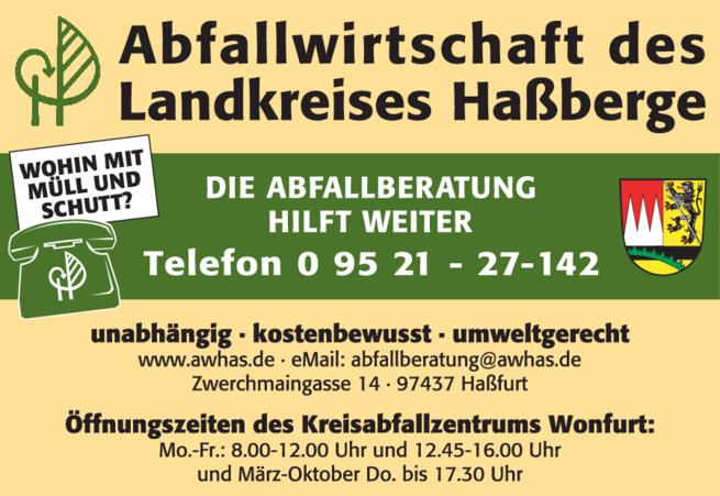 Anzeige Abfallwirtschaft des Landkreises Haßberge