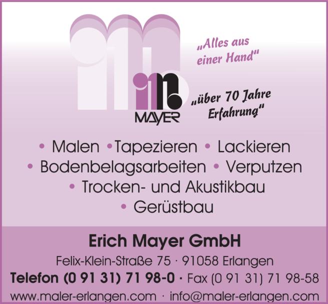 Anzeige Maler - Erich Mayer GmbH