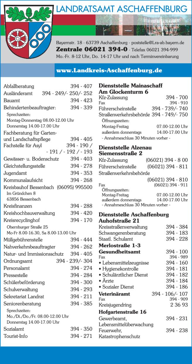 Anzeige LANDRATSAMT ASCHAFFENBURG