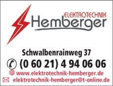 Anzeige Elektrotechnik Hemberger