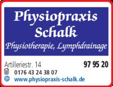 Anzeige Physiopraxis Schalk