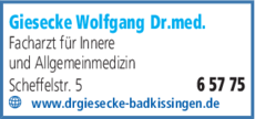 Anzeige Giesecke Wolfgang Dr.med.