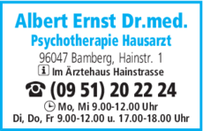 Anzeige Albert Ernst Dr.med.