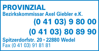 Anzeige PROVINZIAL Axel Giebler e.K. Versicherungen
