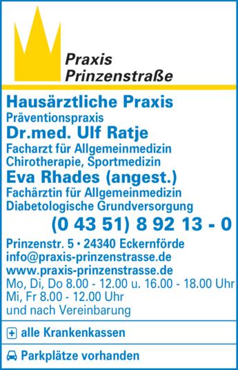 Anzeige Praxis Prinzenstraße Dr.med. Ulf Ratje, Dr. med. Meike Femerling