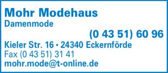 Anzeige Modehaus Mohr