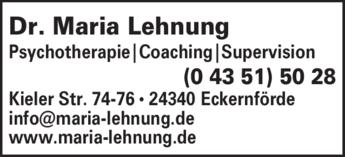 Anzeige Lehnung Maria Dr. Psychotherapie