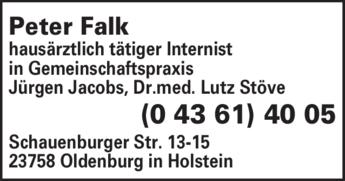 Anzeige Falk Peter Internist
