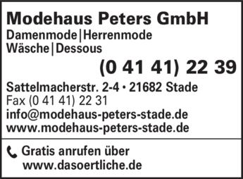 Anzeige Modehaus Peters