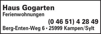 Anzeige Haus Gogarten