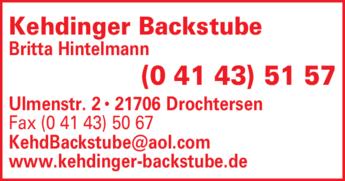 Anzeige Kehdinger Backstube Hintelmann Uwe