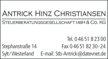 Anzeige Antrick Hinz Christiansen Steuerberatungsgesellschaft mbH & Co KG