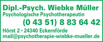 Anzeige Müller Wiebke Dipl.-Psych. Psychologische Psychotherapeutin