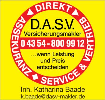 Anzeige D.A.S.V. Versicherungsmakler, Inh. Katharina Baade