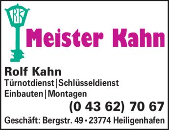 Anzeige Schloß- u. Schlüsseldienst Kahn Rolf