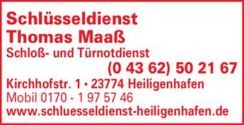 Anzeige Schloß- u. Türnotdienst Maaß