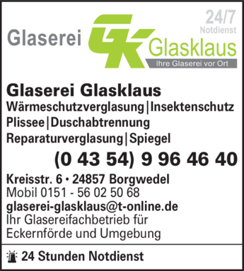 Anzeige Fensterwartung u. Glaserei Glasklaus