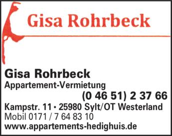 Anzeige Rohrbeck Gisa Apt.Verm.