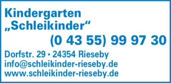 """Anzeige Kindergarten """"Schleikinder"""""""