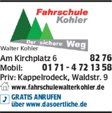 Anzeige Fahrschule Kohler