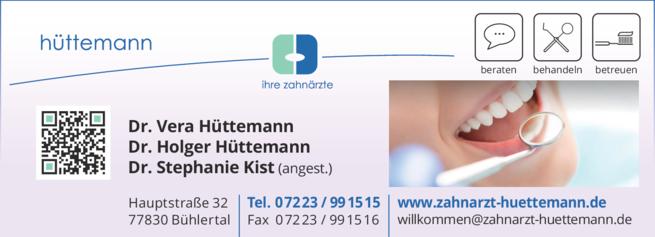Anzeige Hüttemann Holger Dr. u. Hüttemann Vera Dr.