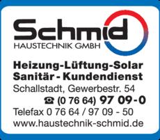 Anzeige Schmid Haustechnik GmbH
