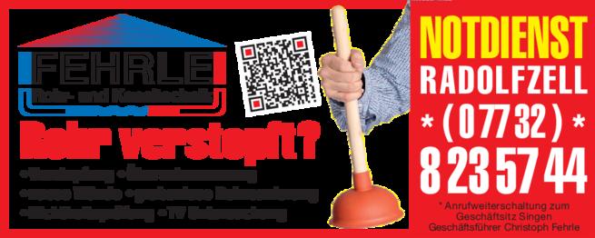 Anzeige Rohrreinigung Fehrle Rohr- und Kanaltechnik