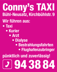 Anzeige Conny's TAXI